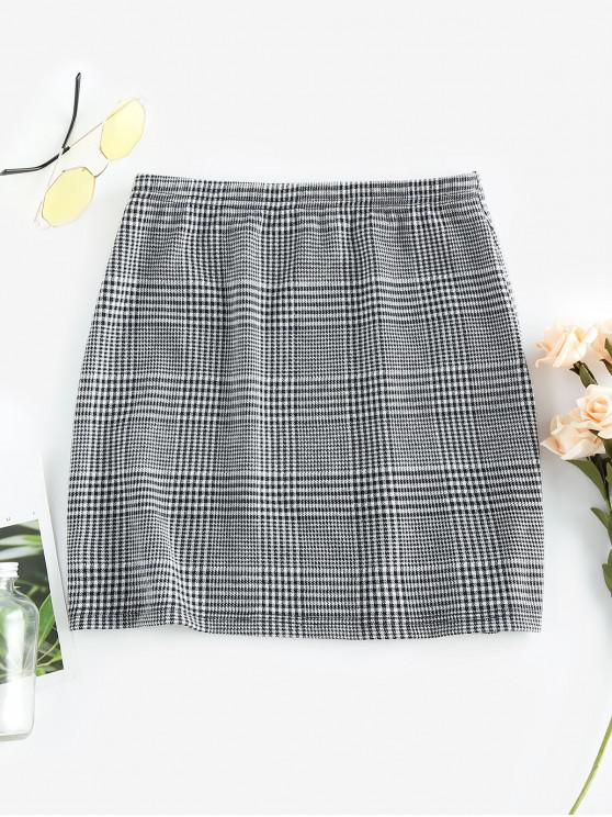 trendy ZAFUL Houndstooth Plaid Mini Skirt - MULTI-C XL