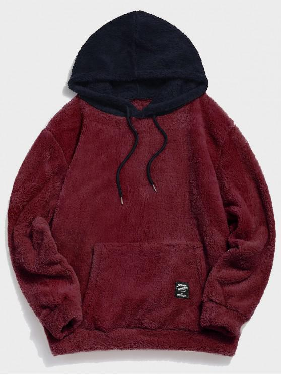 best Colorblock Splicing Drawstring Fluffy Hoodie - RED WINE S