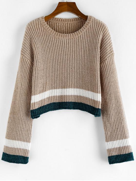 new ZAFUL Striped Chenille Drop Shoulder Jumper Sweater - TAN S