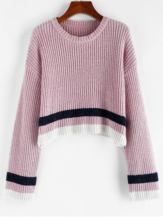 outfits ZAFUL Striped Chenille Drop Shoulder Jumper Sweater - LILAC S