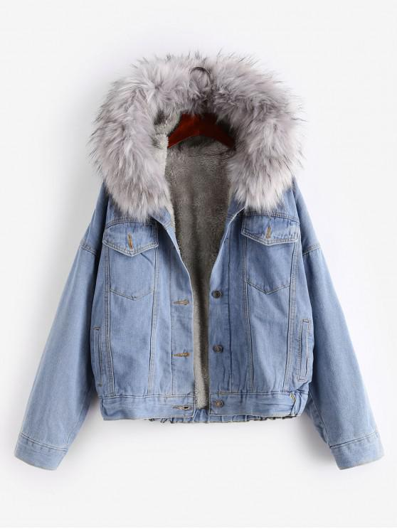 lady Button Up Fluffy Hooded Denim Jacket - GRAY S