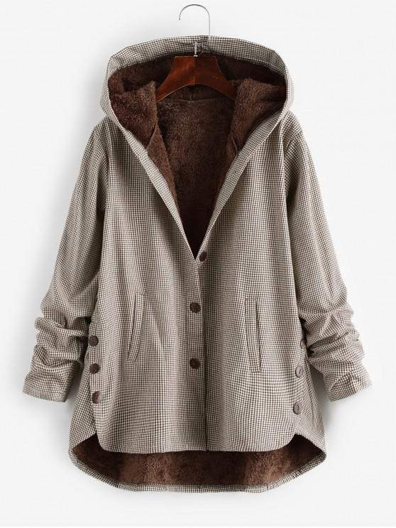 lady Button Up Gingham Hooded Coat - COFFEE 2XL