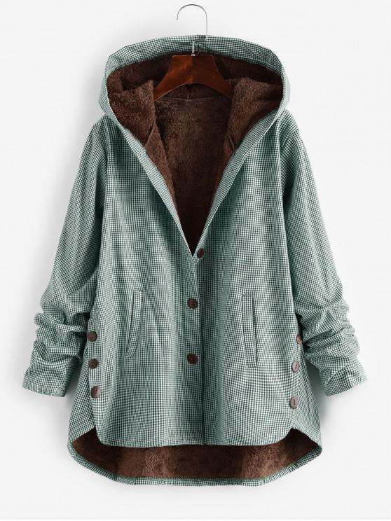 latest Button Up Gingham Hooded Coat - GREEN 2XL