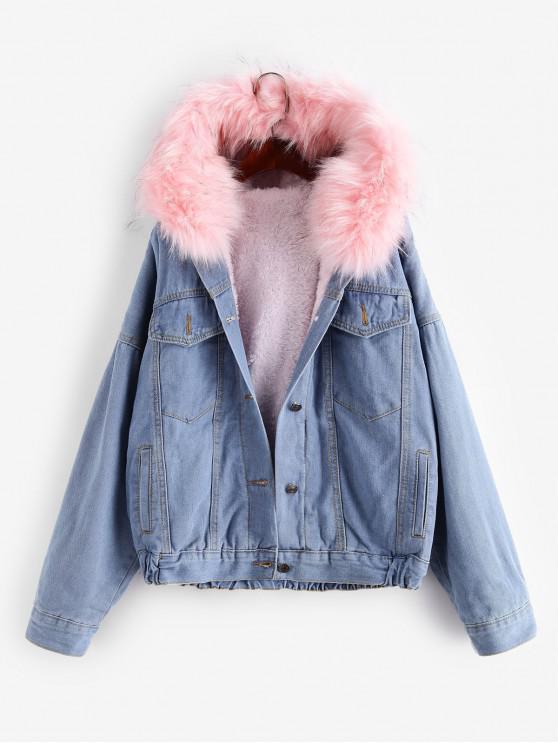 women Button Up Fluffy Hooded Denim Jacket - PINK S