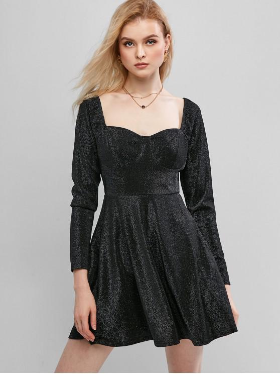 womens ZAFUL Sparkle Mini Sweetheart A Line Dress - BLACK S