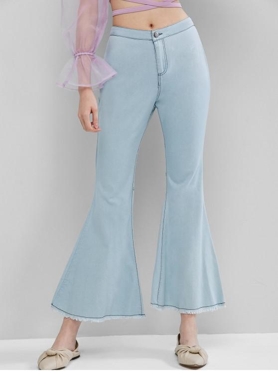 latest Frayed High Waisted Chambray Flare Pants - LIGHT SKY BLUE XL