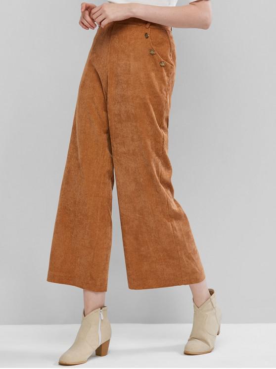 unique Mock Buttons Corduroy Wide Leg Pants - BROWN M