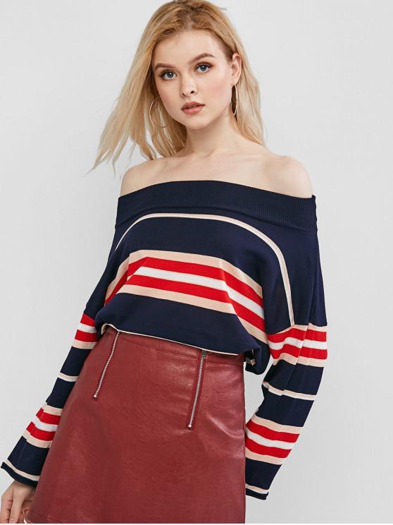 buy Mock Neck Striped Knitwear - CADETBLUE ONE SIZE