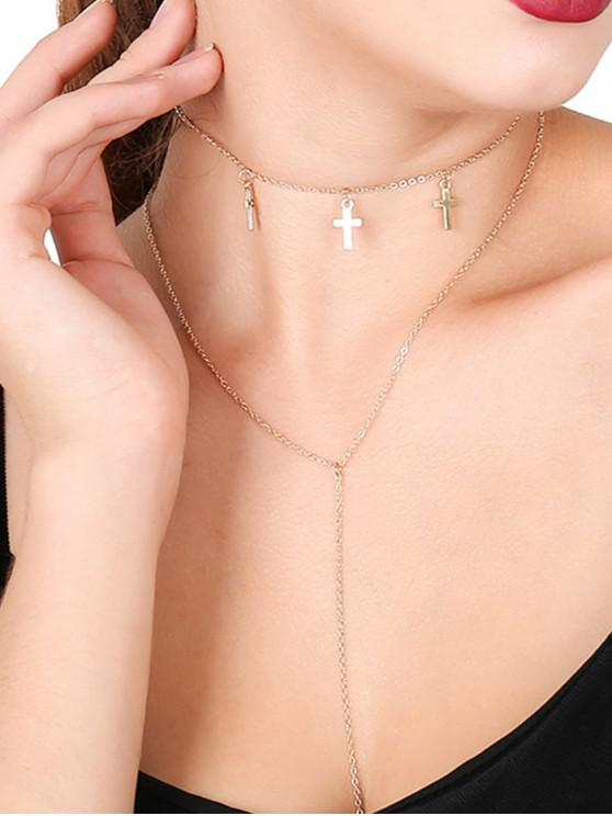 fancy Cross Simple Metallic Layered Necklace - GOLD