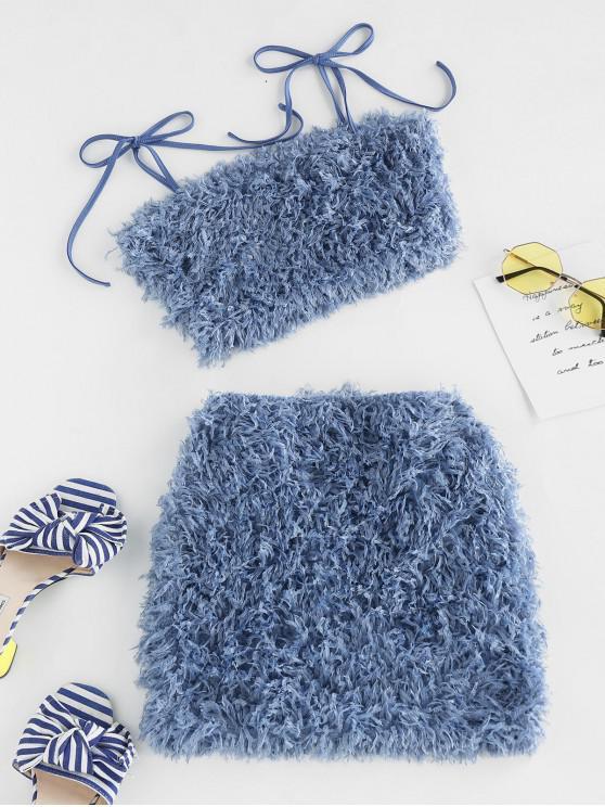 shop ZAFUL Fluffy Two Piece Mini Dress - BLUE KOI S