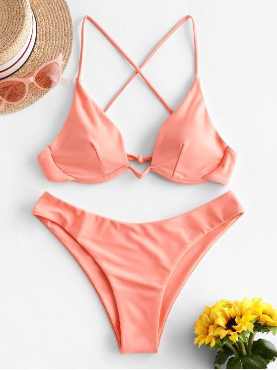 ZAFUL Bikini Badeanzug mit Gekreuzten Bügeln - Orange Rosa S