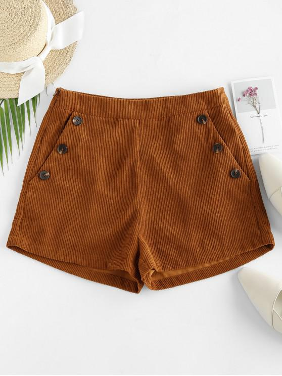 outfits ZAFUL Corduroy Pocket Mock Button Shorts - BROWN L