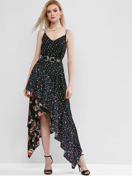 buy Asymmetrical Flower Polka Dot Cross Flounce Dress - BLACK S