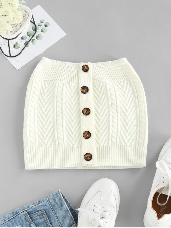 fancy ZAFUL Mock Button Cable Knit Bandeau Top - MILK WHITE L