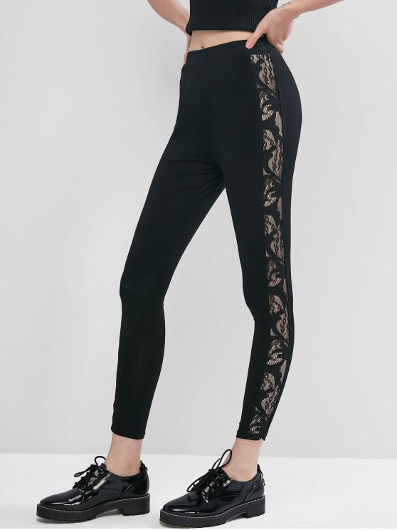 shop ZAFUL Pull On Lace Side High Waisted Leggings - TWILIGHT BLACK S