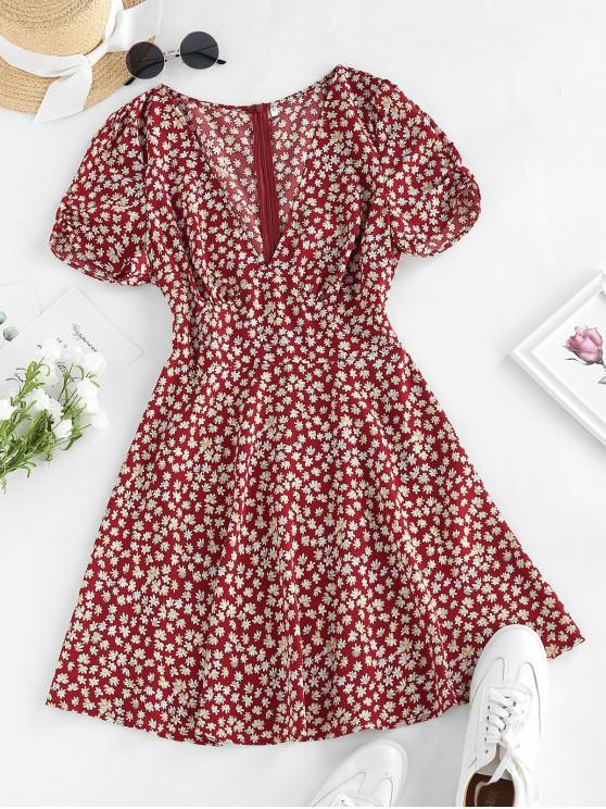 womens ZAFUL Ditsy Print Plunging Mini Vacation Dress - CHESTNUT RED XL