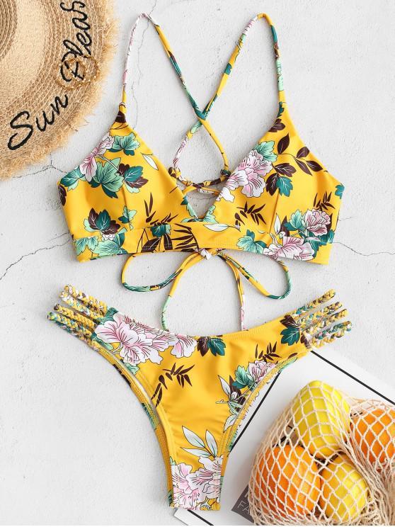 fashion ZAFUL Flower Print Lace Up Braided Cross Bikini Swimsuit - YELLOW M