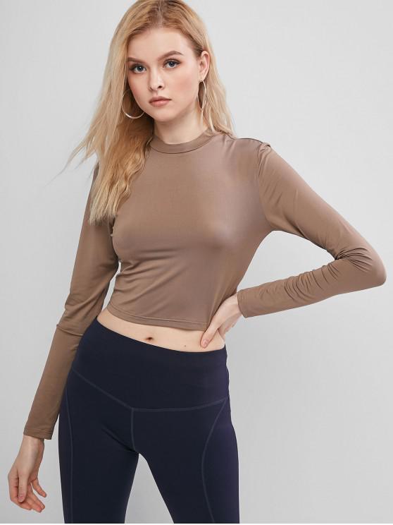 shops ZAFUL Long Sleeves Solid Crop Tee - TAN XL