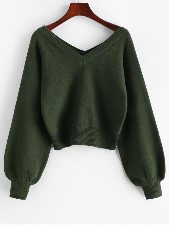 fashion ZAFUL Raglan Sleeve Double V Neck Short Sweater - MEDIUM SEA GREEN L