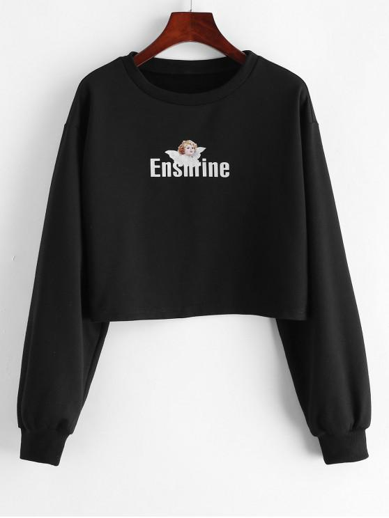sale ZAFUL Angel Letter Graphic Crop Sweatshirt - BLACK L