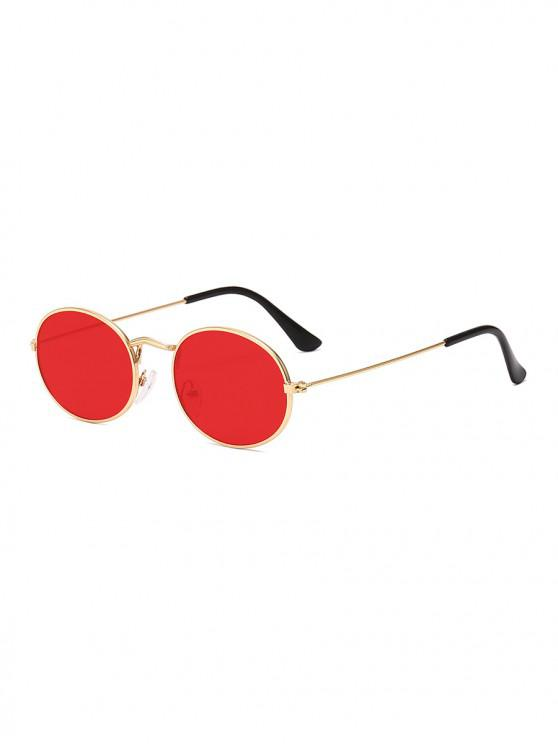 unique Metal Oval Anti UV Sunglasses - RED