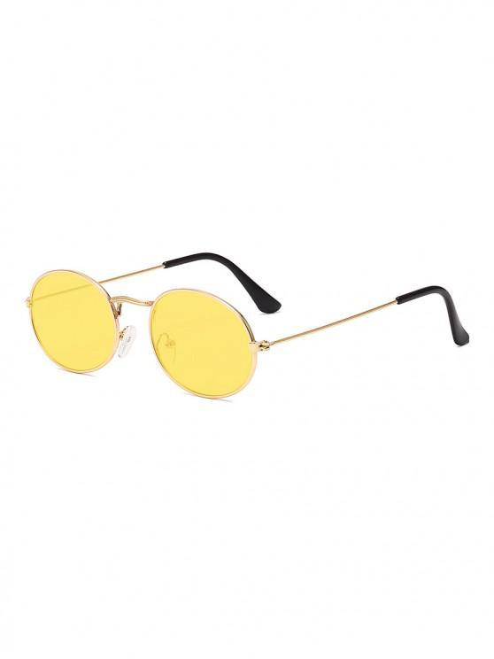 shops Metal Oval Anti UV Sunglasses - YELLOW