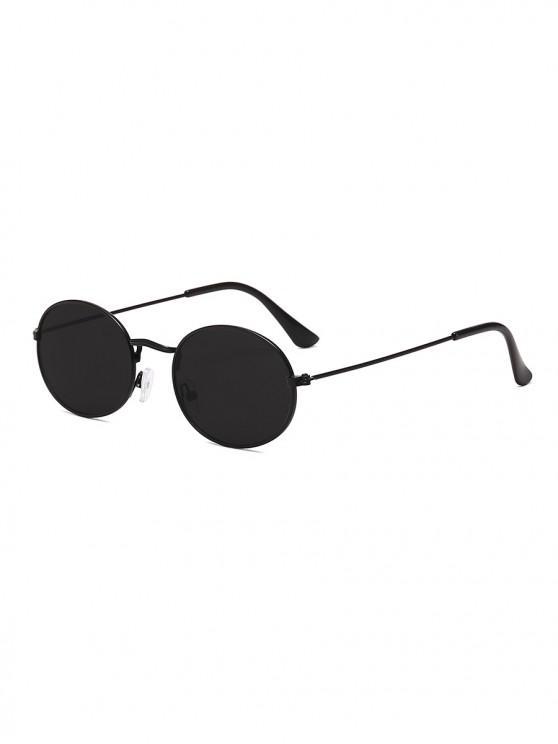 Анти-UV Металлические Овальные Солнцезащитные Очки - Черный угорь