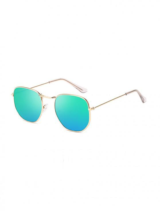 chic Metal Lightweight Square Sunglasses - MACAW BLUE GREEN