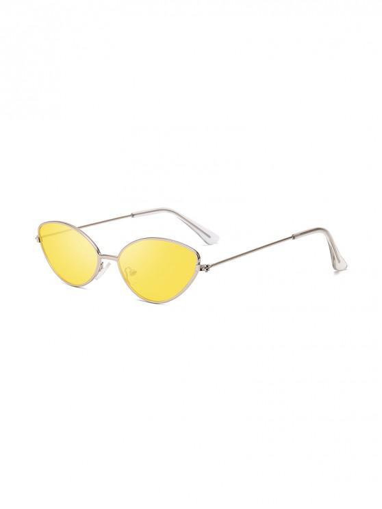 affordable UV Protection Kitty Eye Metal Sunglasses - YELLOW