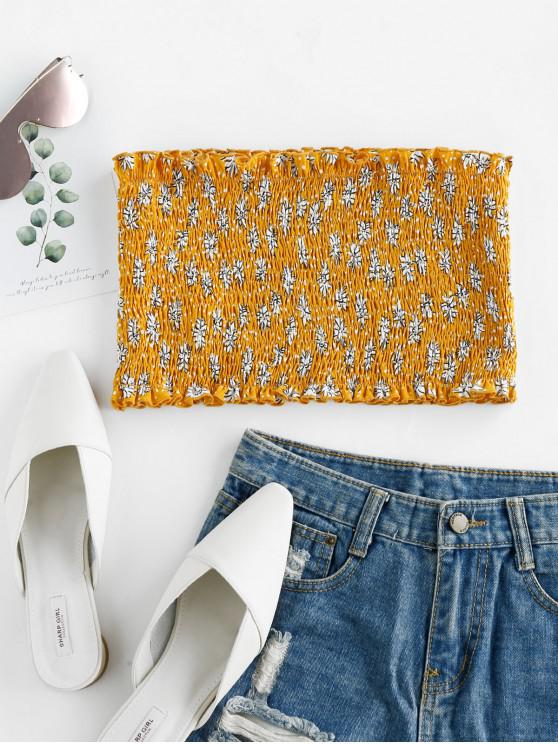 sale ZAFUL Floral Smocked Bandeau Crop Top - BEE YELLOW M