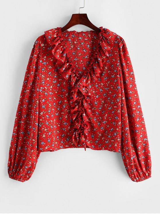 womens ZAFUL Tiny Floral Ruffles V Neck Blouse - CHERRY RED XL