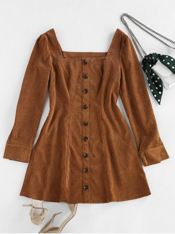 unique ZAFUL Corduroy Button Embellished Square Neck Mini Dress - CAMEL BROWN L