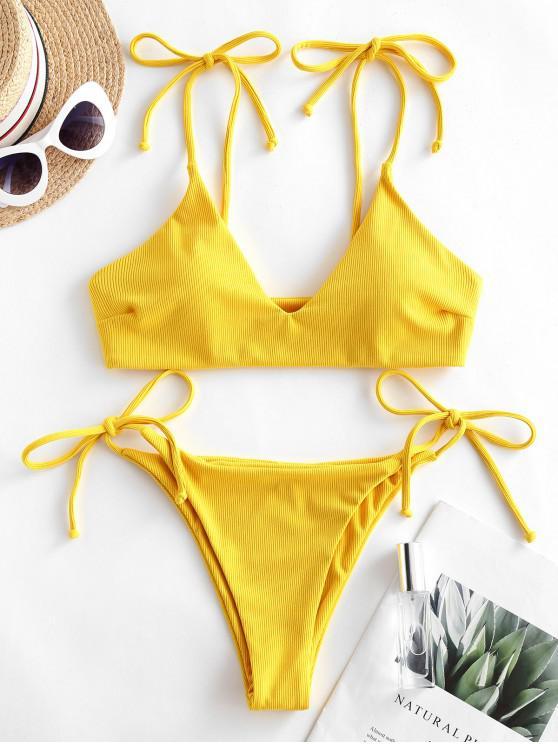 ZAFUL Bikini Acanalado con Lazo - Caucho Ducky Amarillo S