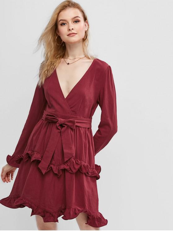 outfits ZAFUL Ruffles Surplice Dress - RED WINE L