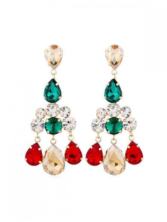 women's Rhinestoned Teardrop Chandelier Earrings - MULTI
