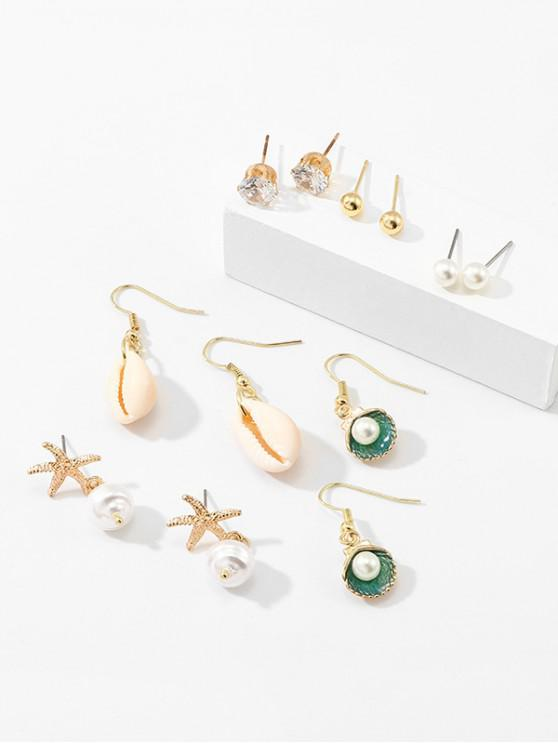 chic Artificial Pearl Starfish Shell Shape Beach Earrings Set - GOLD