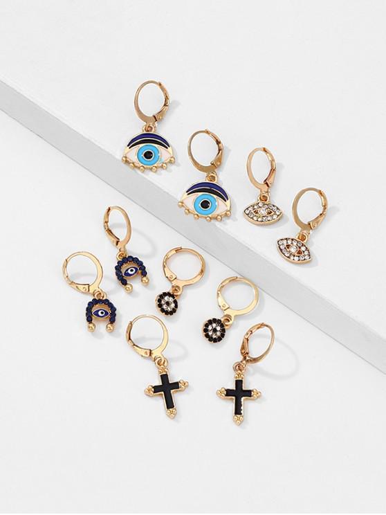 trendy Rhinestone Eye Cross Shape Drop Earrings Set - GOLD