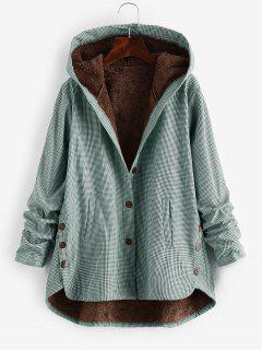 Button Up Gingham Hooded Coat - Green L