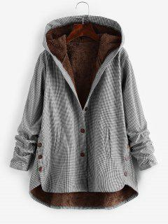 Button Up Gingham Hooded Coat - Black L
