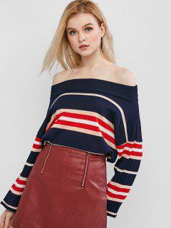 Mock Neck Striped Knitwear - Cadetblue