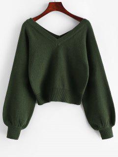 ZAFUL Raglan Sleeve Double V Neck Short Sweater - Medium Sea Green M