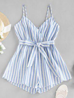 ZAFUL Striped Belted Cami Wide Leg Romper - Multi-a S
