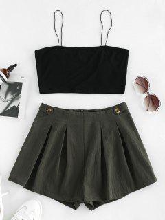 ZAFUL Contrast Zip Fly Cami Two Piece Set - Black S