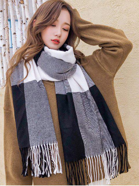 trendy Checkered Fringe Winter Long Scarf - BLACK  Mobile