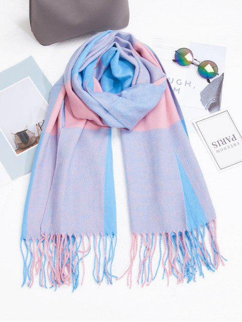 fashion Checkered Fringe Winter Long Scarf - DEEP BLUE  Mobile