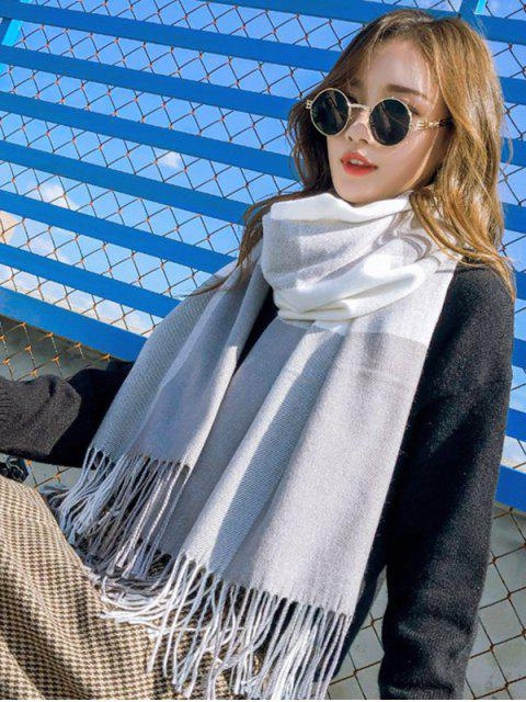chic Checkered Fringe Winter Long Scarf - GRAY  Mobile