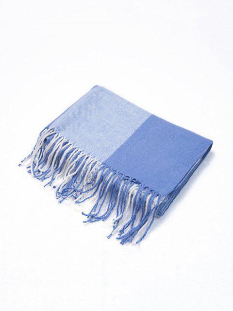 Клетчатый принт С бахромой Зимний Длинный Шарф - Небесно-голубой  Mobile