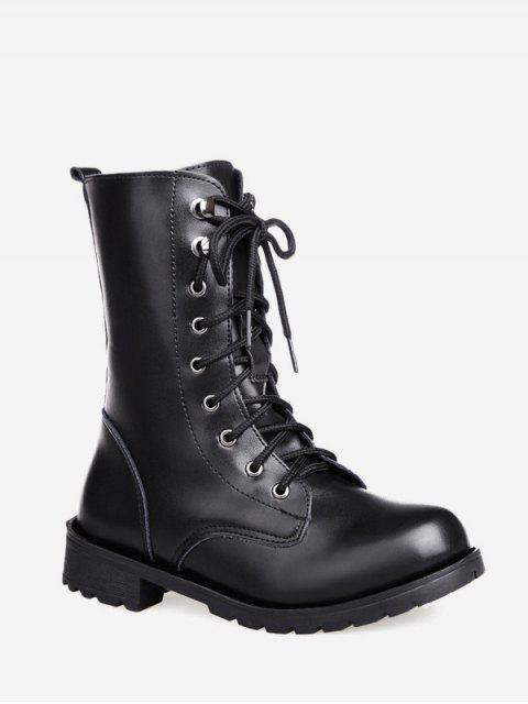 online Solid PU Leather Mid Calf Boots - BLACK EU 37 Mobile