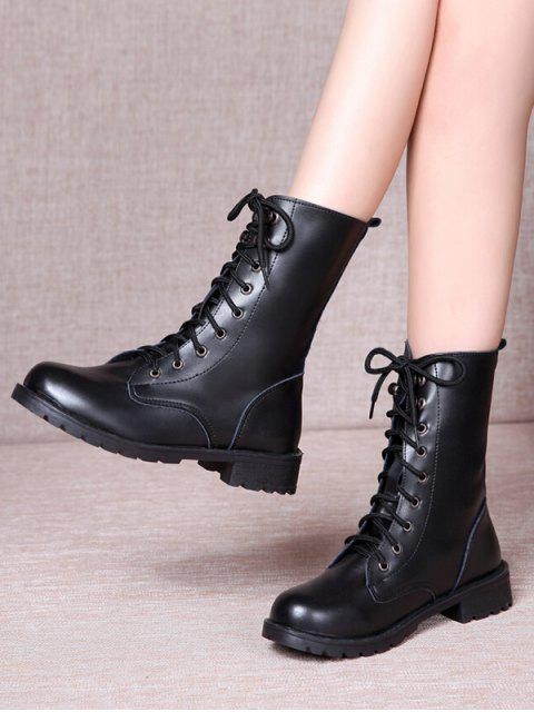 fancy Solid PU Leather Mid Calf Boots - BLACK EU 38 Mobile