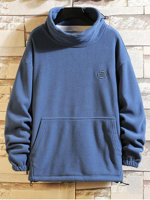 Sólido Carta bordado bolsillo de la bolsa Fleece con capucha - Azul XL Mobile